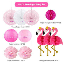 Flamingo Honeycomb Ball Set Paper Flower Ball Decorative Wedding Valentine Honeycomb Ball Paper Flower Party Decoration Supplies(China)