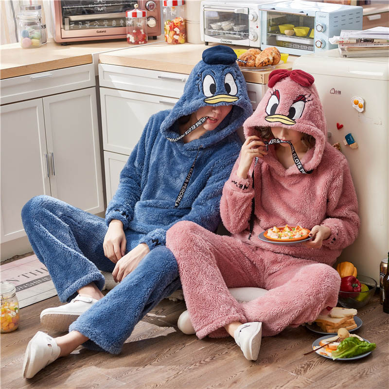 Unisex Adult Couple Pajamas Men Pajamas Set Thickening Female Sleepwear Winter Warm New Cute Animal Cartoon Home Service Pyjamas