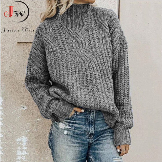 Autumn Women Turtleneck Sweater 2020 Elegant Long Sleeve Thick Winter Knitted Pullovers Knitwear Fashion Solid Tops Pull Femme
