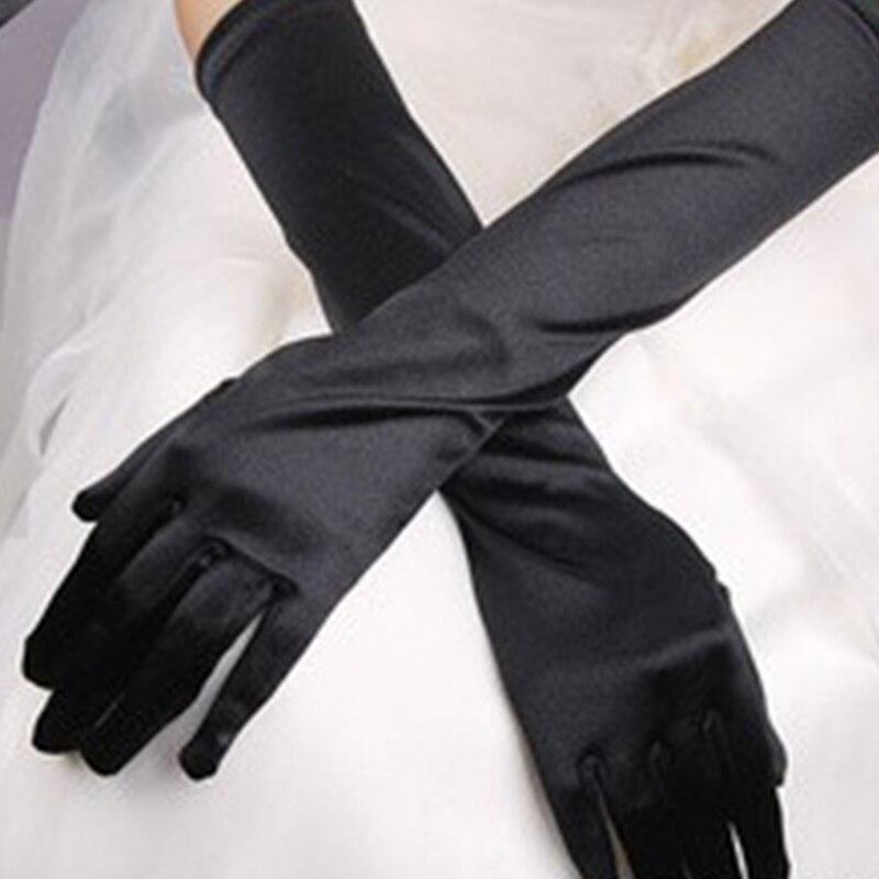 Chic Women Stretch Halloween Satin Gloves Ladies Elegant Vintage Evening Party Prom Long Gloves Black White Gloves