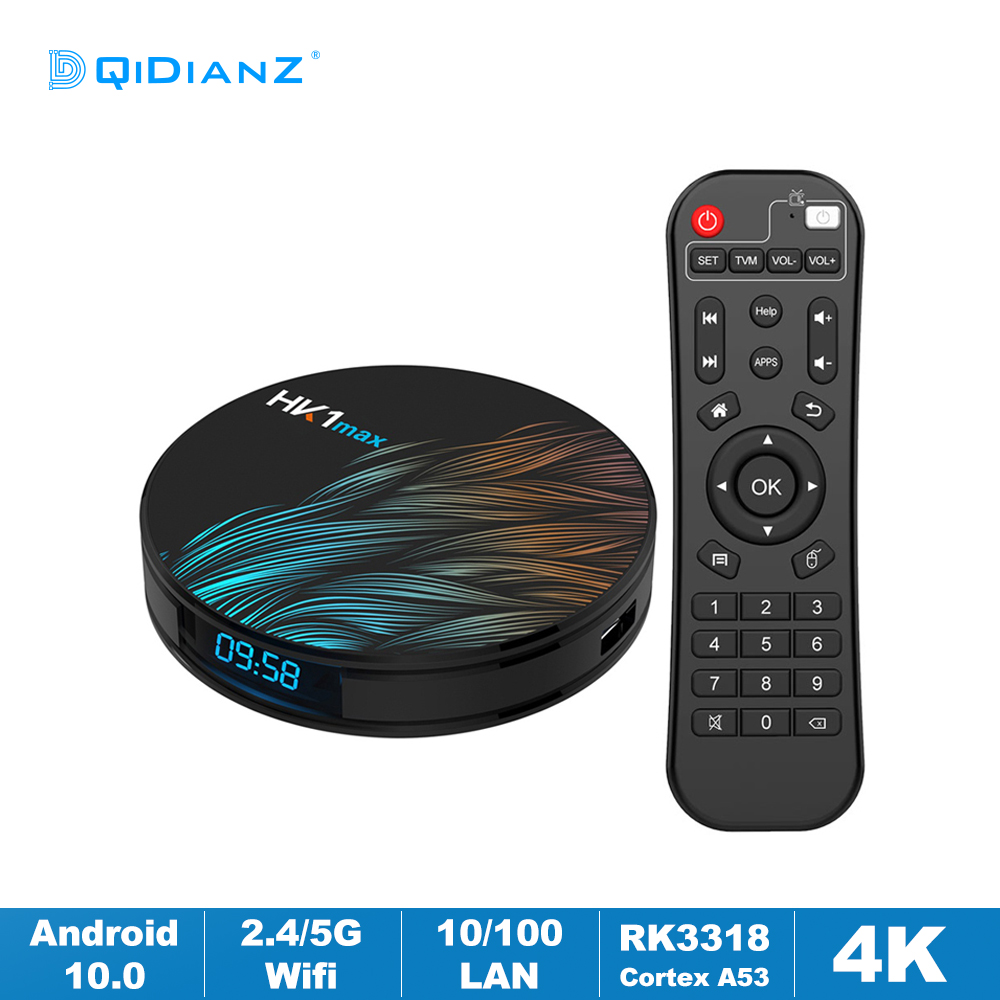 HK1MAX Android 10,0 Смарт ТВ коробка Четырехъядерный 2,4 г/5G Wi-Fi BT 4,0 DDR3 4K HDR Media Player VS X96 HK1 MAX MINI Декодер каналов кабельного телевидения компьютерной прис...