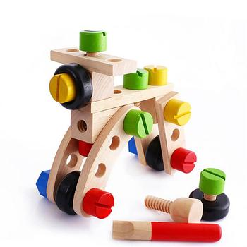 30Pcs Wooden DIY Car Plane Disassembly Nuts Building Blocks Kids Educational Toy New image