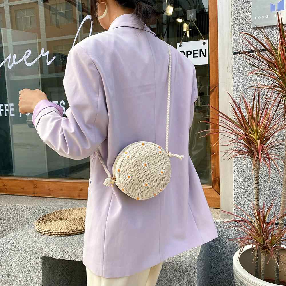 Kasual Daisy Bordir Bunga Renda Bulat Kecil Tas Bahu untuk Wanita Vintage Jerami Tenun Wanita Pantai Crossbody Messenger Tas