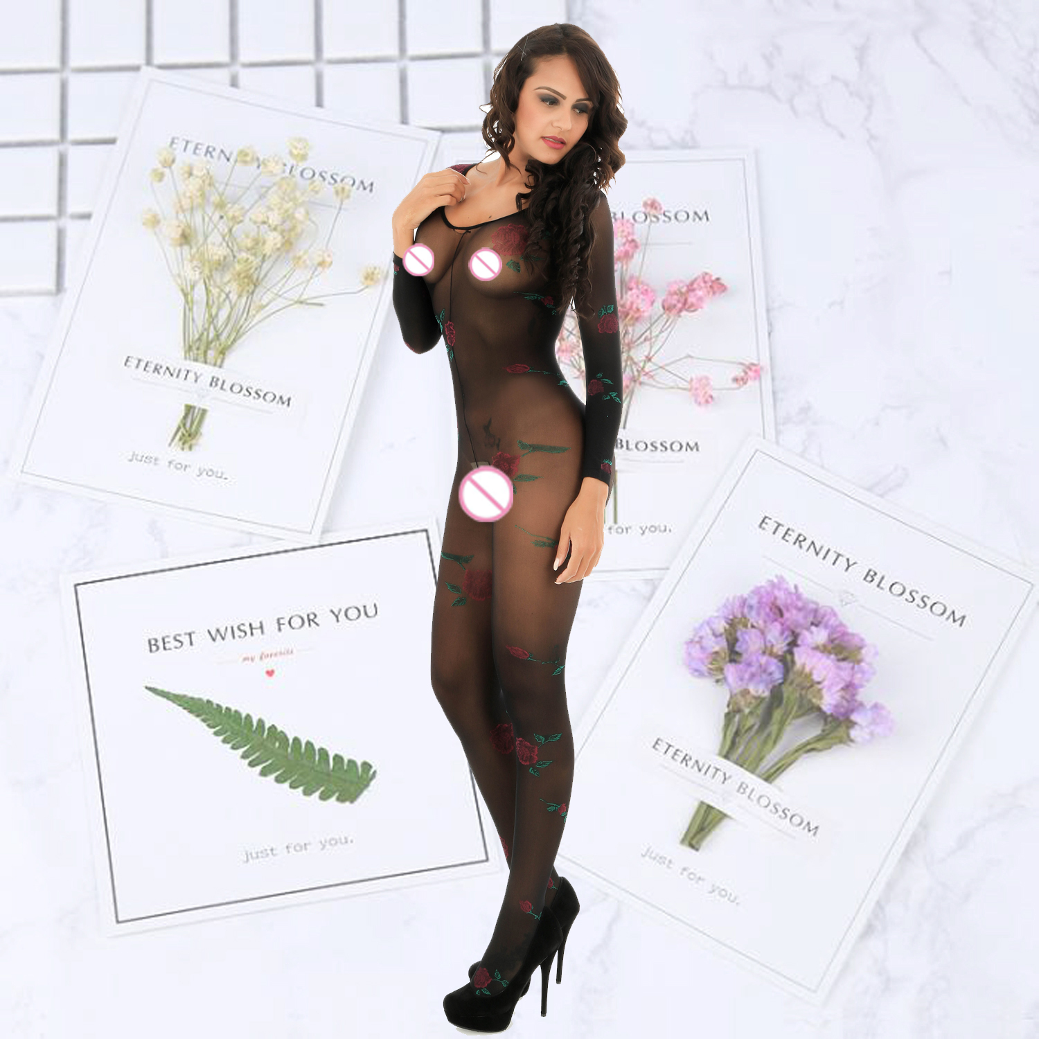 Women printed flower Lingerie Sexy Hot Erotic Open Crotch Body silk Stockings Sexy Teddy Babydoll Erotic Underwear in Teddies Bodysuits from Novelty Special Use