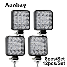 Aeobey 새로운 Led 라이트 바 48w Led 바 16barra 스퀘어 스포트 라이트 오프로드 LED 작업 빛 12V 24V 자동차 트럭 4X4 4WD 자동차 SUV ATV