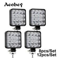 Aeobey – projecteur carré 48w 16 barres, 12V 24V, pour voiture, camion, voiture 4x4 4WD SUV ATV, nouveau