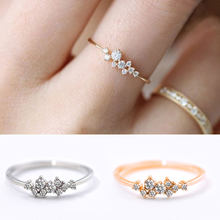 New Yellow Gold Zircon Ring Nine Zircon Female Tail Ring Jewelry Women Fashion Rings Popular Rings For Female Accessories(China)