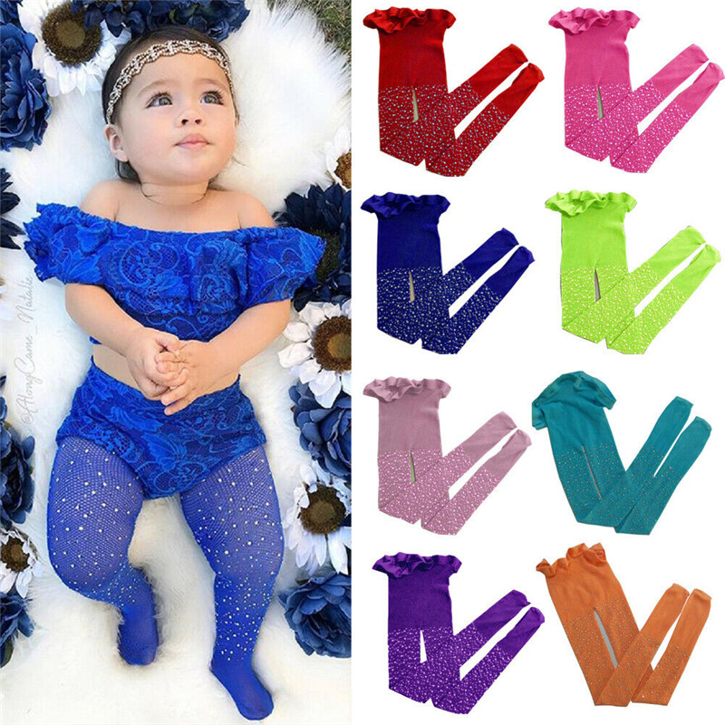 Pudcoco Lovely Toddler Girls Mesh Fish Net Crystal Bling Tights Children Stretch Elastic Waist Tights Stockings Solid Pantyhose
