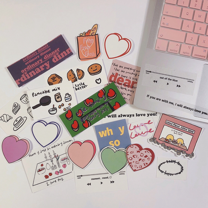Ins Hot Sale Love Stickers Girl Stickers Bag Mobile Phone Computer Hand Account Decoration Waterproof Stationery PVC Stickers