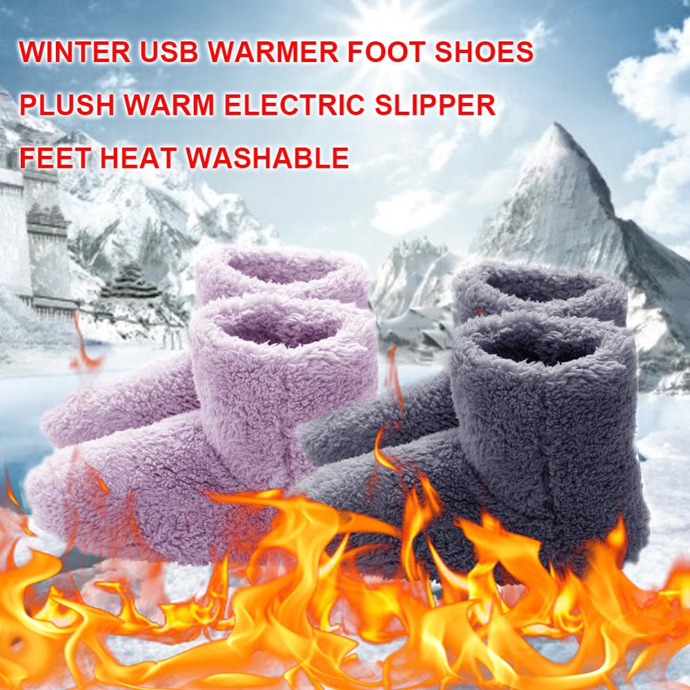 Winter USB Heater Foot Shoes Plush Warm Electric Slippers Feet Heated Washable Couple Warm Shoes