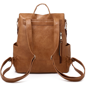Image 4 - Multifunction Backpack Women Leather Backpacks Large Capacity Bag Vintage back pack With Ethnic Strap mochila mujer 2020 XA55H