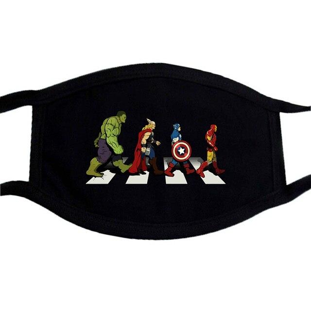 The Avengers Marvel Superhero Funny Face Masks Unisex Dustproof  Mouth-Muffle Mask Washable Black Bilayer Winter Warm Mask 5
