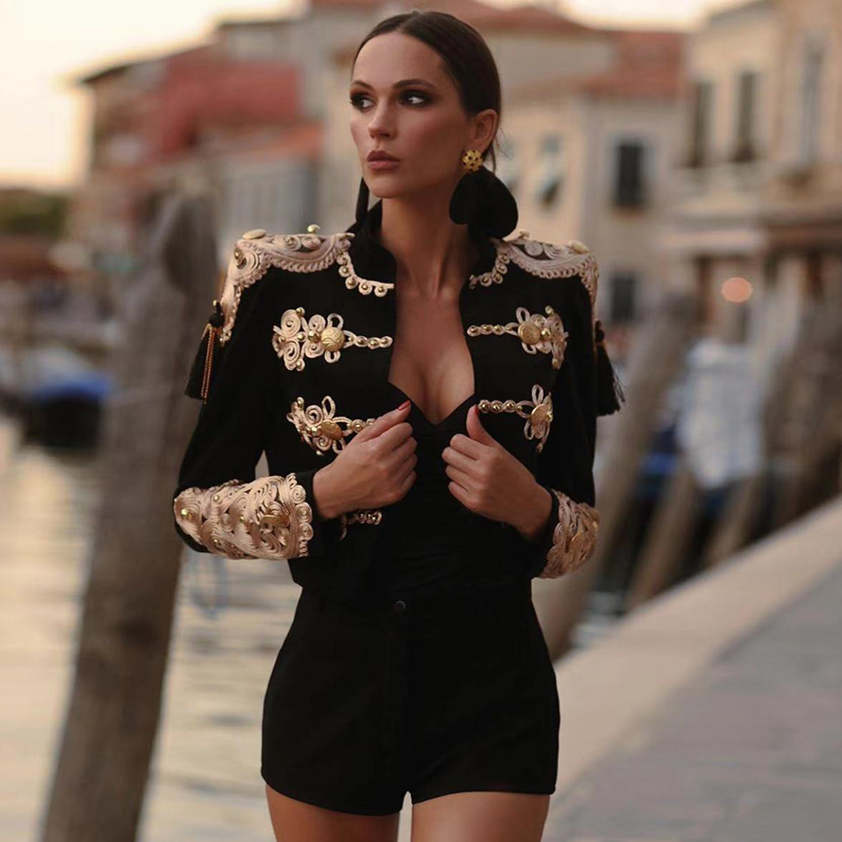 Adyce 2021 New Autumn Winter Long Sleeve Bandage Coat Jacket Sexy Women Black Luxury Buttons Tassel Club Party Outwear Jackets