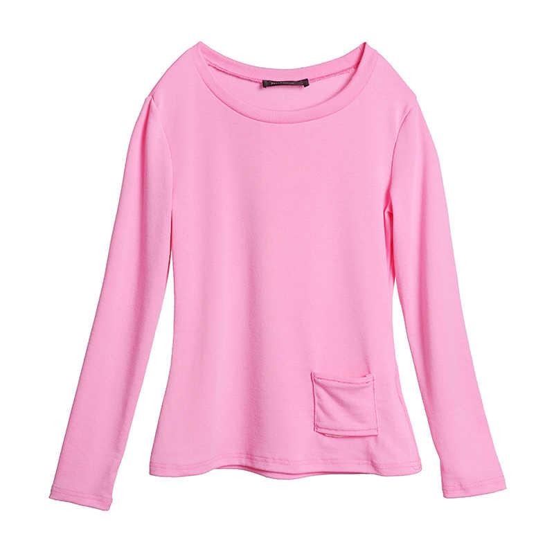 Vrouwen T-shirt Zanzea Zomer Casual Sexy O Hals Lange Mouw Zakken Tops Tees Dames Losse Solide Streetwear T-shirt Plus Size 5XL
