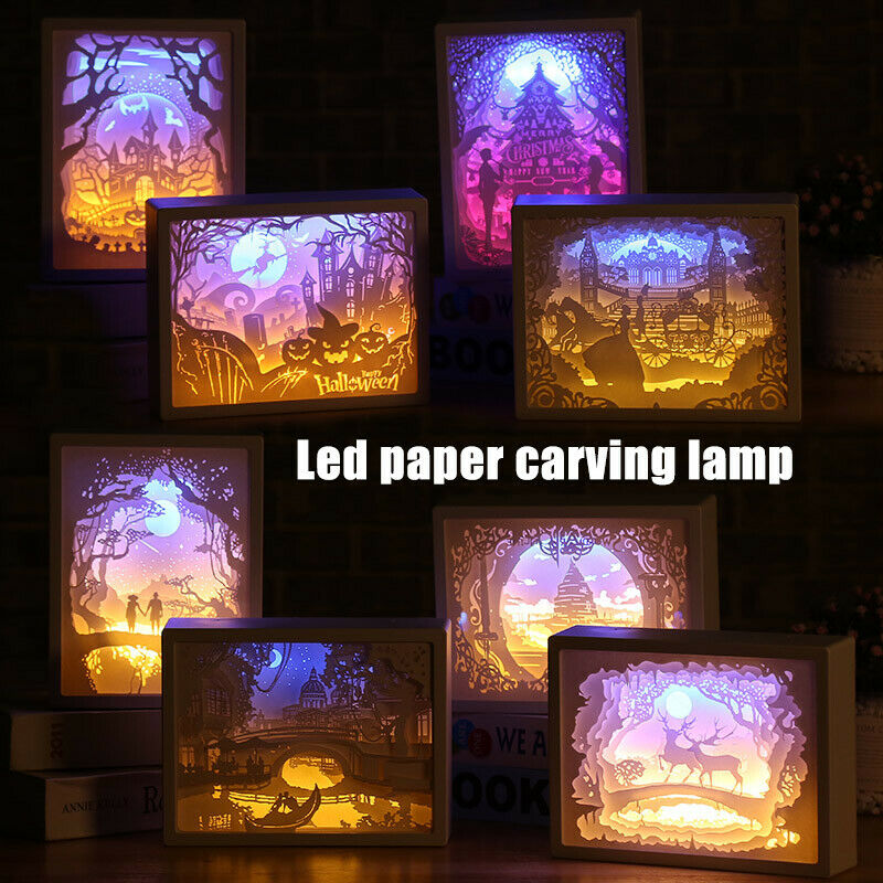 3D Creative Papercut Light Box Night Lamp Paper Pattern Painting LED Table Desk Color Shadow Box Frame