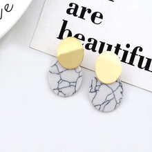 цена на Women Earrings New Korean Version of  Hot Selling Simple Geometric Personalized Marble Pattern Circle Earrings Female