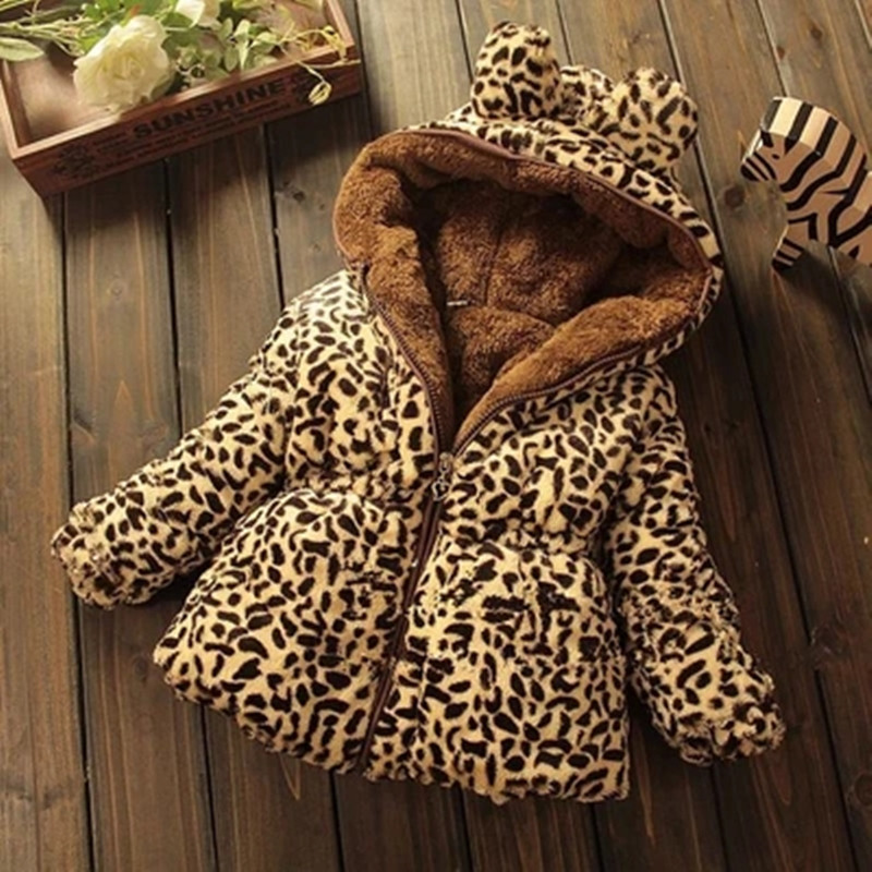 Winter full sleeve Leopard faux fox fur collar Children Girls coat Jacket Baby Girl Outerwear Hooded Infant Clothing Thick Warm 2