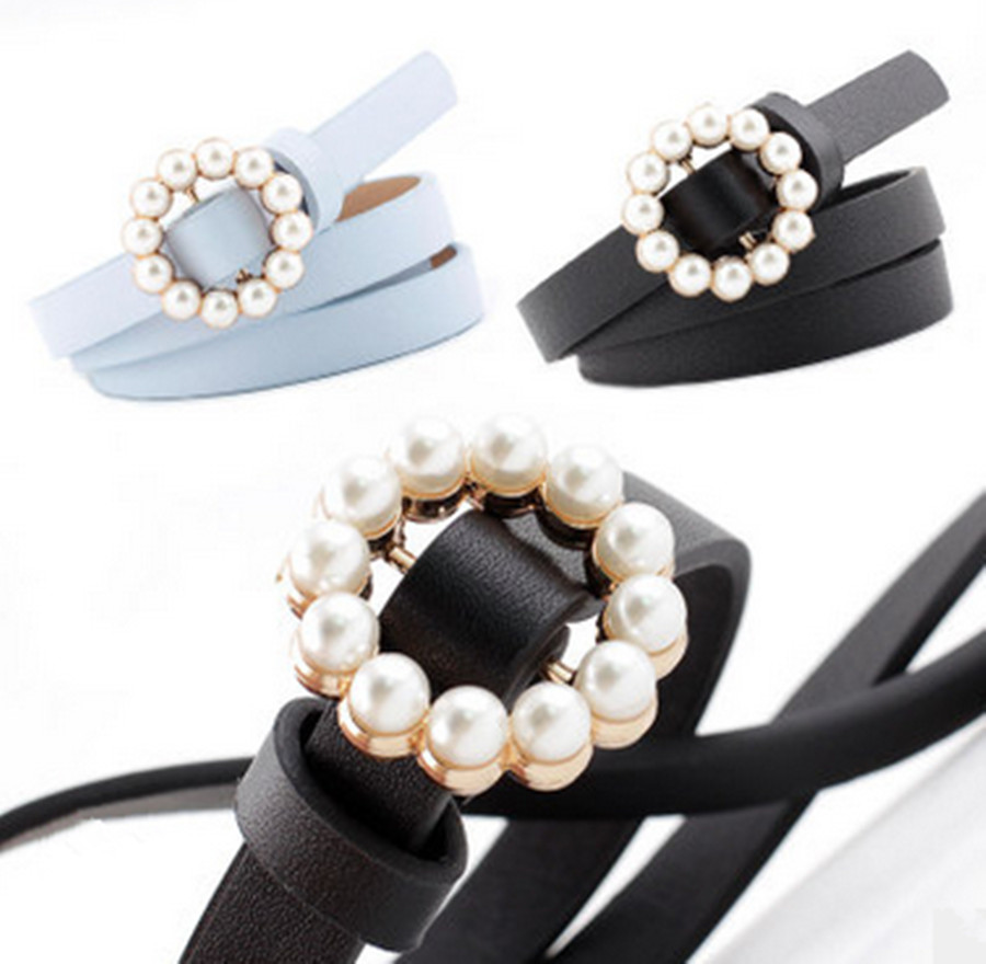 Fashion Belts For Women Casual Sweet Long Round Pearl Buckle Decorative Thin PU Leather Belt Waistband