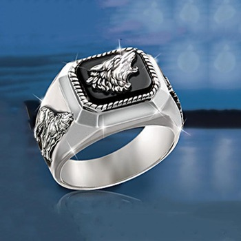 Vintage 925 Silver Personality Wolf Head Ring for Men and Women Gift Jewelry Ring Wholesale недорого