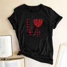 Red Leopard Heart Print Women T-shirt Short Sleeve Cut Love Heart Summer Clothes for Women 2020 Fashion Tee Shirt Femme Hot