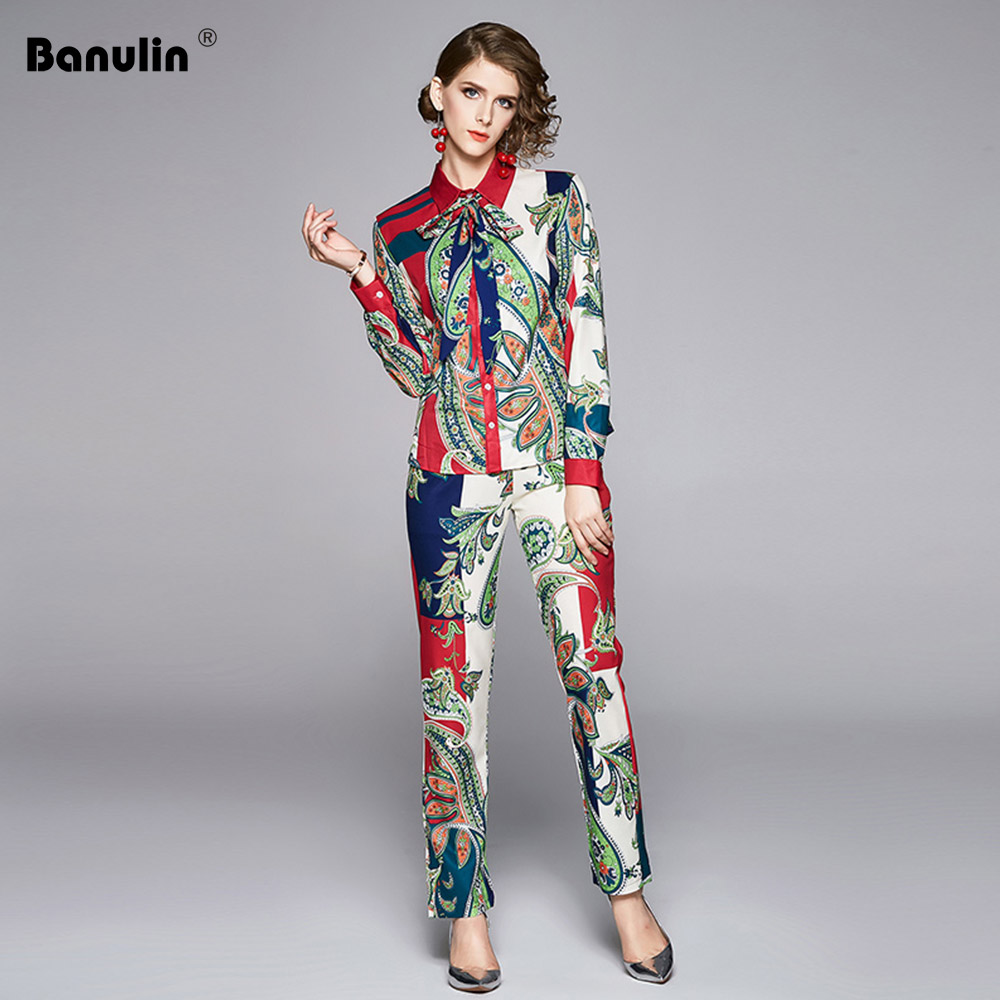 Banulin Fashion Runway Pants Suit Sets Women's Long Sleeve Bow Collar Print Blouses And Casual Pants Two Pieces Set 2020 Spring