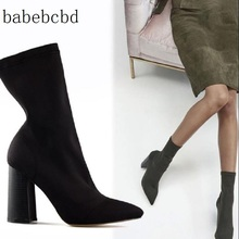 Slim Stretch Ankle Boots for Women Pointed Toe Sock Boots Square High Heel Boots Shoes Woman Fashion Bota Feminina luxury design knitted peep toe boots summer sock ankle women elastic stretch botas high heels pumps ladies dress bota feminina