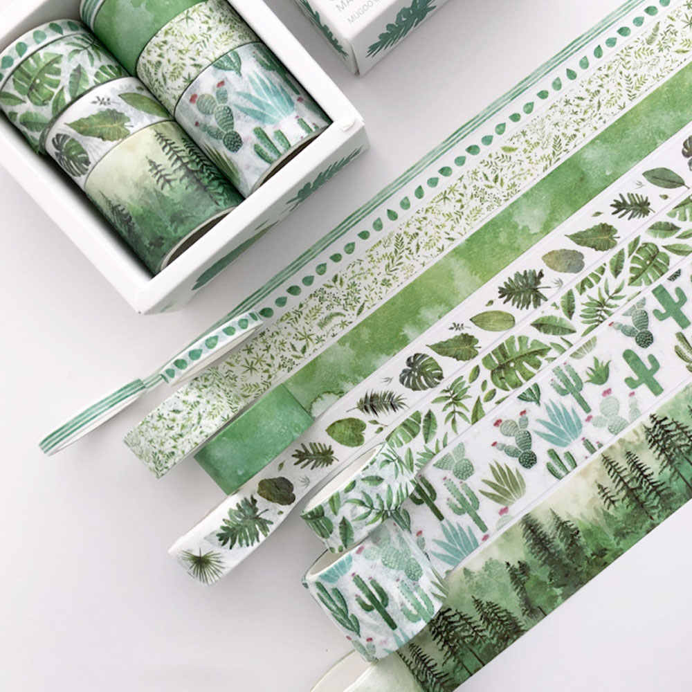 8 Buah Hijau Daun Kaktus Washi Tape Set DIY Perencana Masking Tape Dekoratif Perekat Stiker Label Maskin OfficeTapes