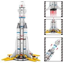 Carrier rocket building blocks city space port space shuttle launch center assembly model   children toys gifts стоимость