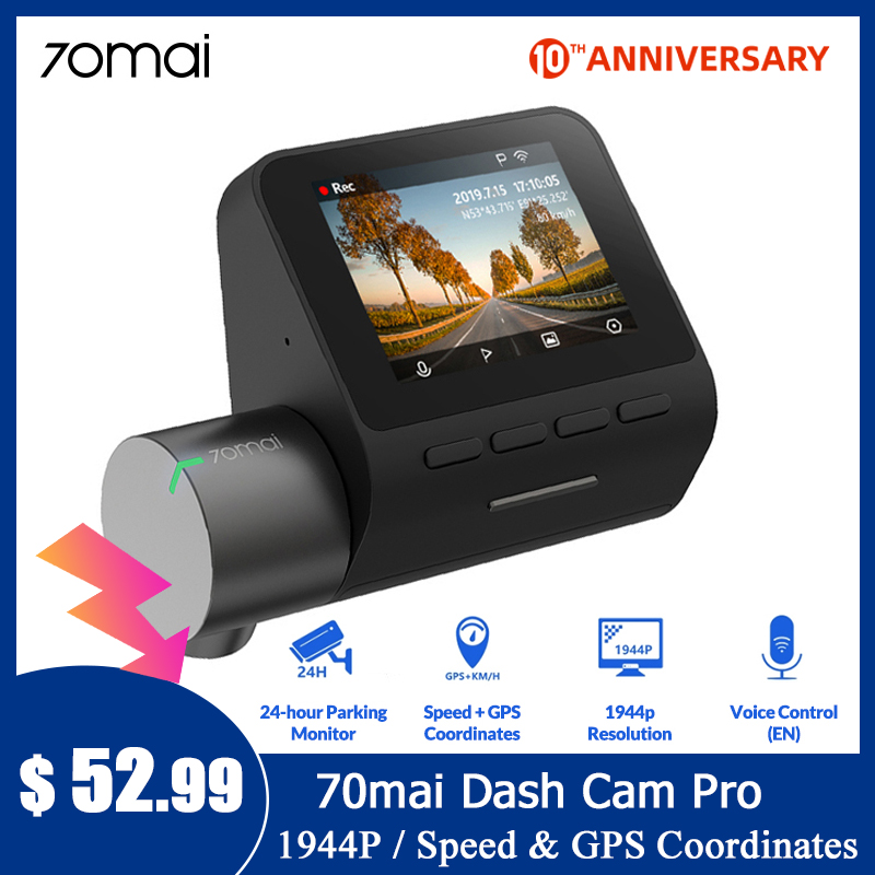 70mai Dash Cam Pro GPS ADAS Speed & Coordinates 70mai Pro Car DVR Dash Camera WiFi 1944P title=