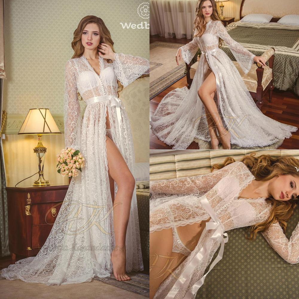 Lace Bridal Nightgown Night Dress Illusion Long Sleeves Nightgown Nightdress Women Sleepwear Nightwear For Bridal Boudoir Dress