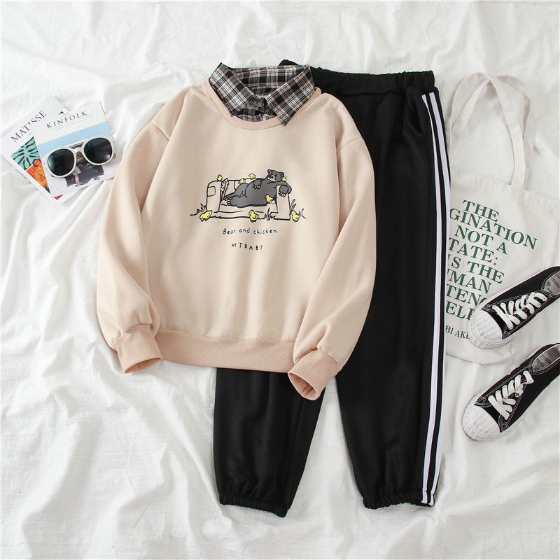 1066 # [Photo Shoot] Sports Casual WOMEN'S Suit Winter Students Brushed And Thick Hooded Two-Piece Set