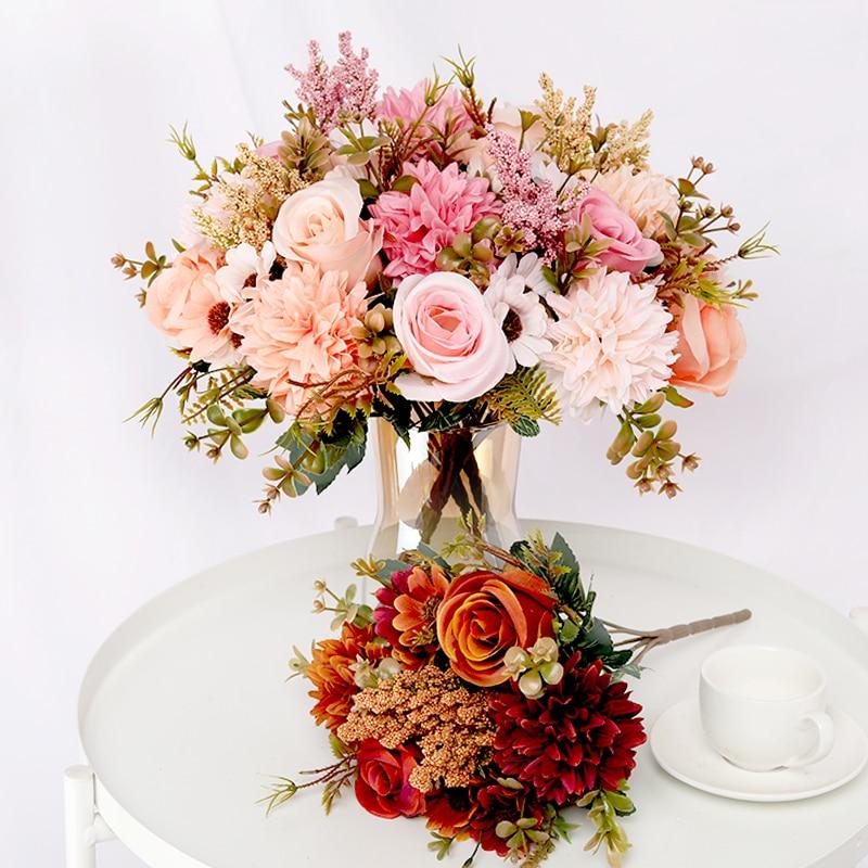 Искусственные цветы, роза, лаванда, Гортензия, Маргаритка, Осенний Гибридный букет для дома, свадьбы, Рождественский Декор, осень
