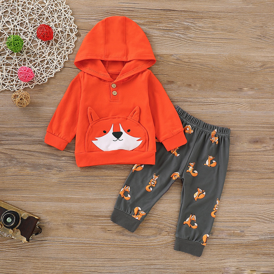 Uk Autumn Winter Clothes Toddler Baby Girl Boys Clothes Fox Cotton Hooded Tops Trousers Pants Winter Clothes Set 0 24 Months Clothing Sets Aliexpress