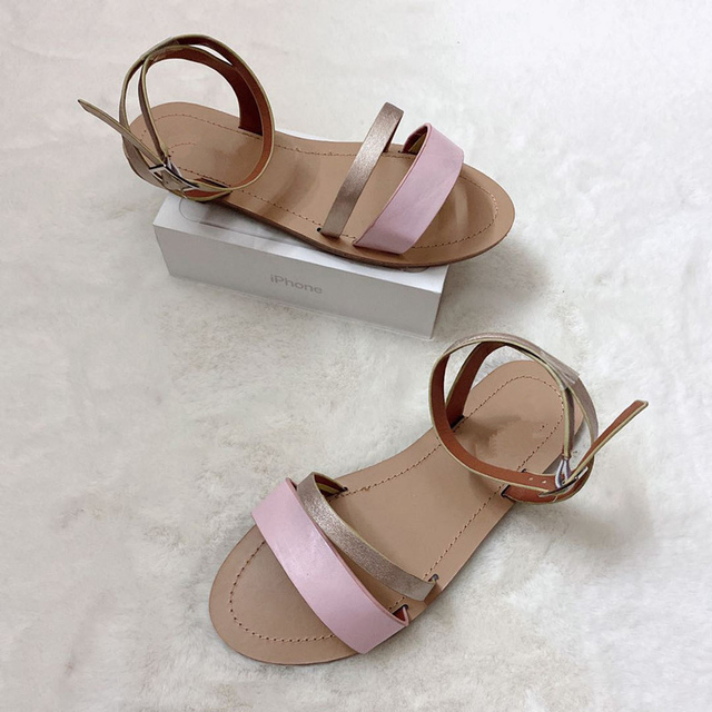 2020 sandalias de mujer planas de verano de Sanke Casual de gran tamaño 41 zapatos de hebilla de tobillo dorado de playa para mujer Calzado cómodo fresco 4