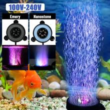 Underwater RGB Fish Tank Air Curtain Bubble Light 6 Color Changing LED Submersible Aquarium Decorate Light EU/US/UK Plug 46cm 18pcs led aquarium fish tank light tube bar light underwater submersible air bubble safe lighting us eu uk saa plug