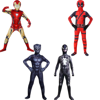 цена Deluxe Deadpool Iron Man Venom Black Panther Costume Cosplay Children Halloween Superhero Costume For Kids онлайн в 2017 году