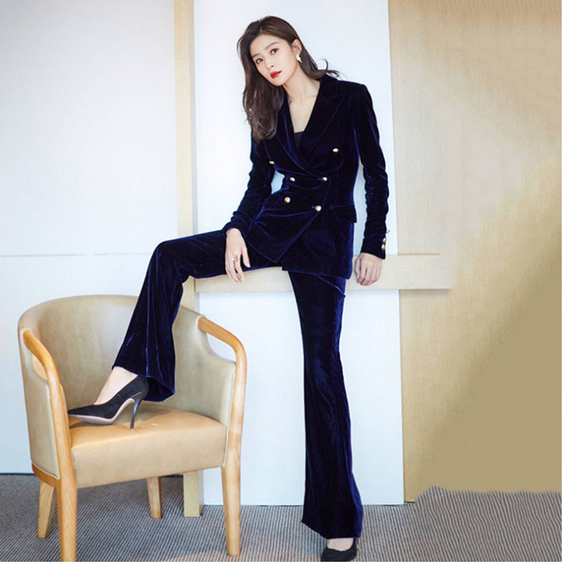 Women's Suit 2 Piece Set Star With Velvet Women's Double-breasted Suit Blazers Trousers Business Professional Suits