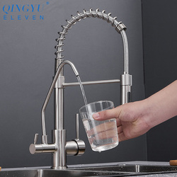 QINGYU ELF Messing Küche Armaturen Pull Unten Heißer Kalten Wasser Filter Mischbatterie für Küche Drei Möglichkeiten Waschbecken Mixer Küche wasserhahn