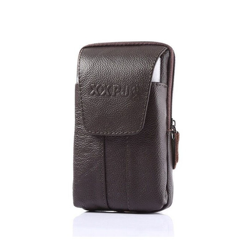 Summer New Style Mobile Phone Running Bag Multi-functional Verticle Wear Leather Belt Magnetic Buckle Classic Leather Men's Runn