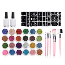 24 Colors Glitter Tattoo Set Template Flash Diamond Glitter Shine Flash Powder Temporary Tattoo Ink Face Body Painting Wonderful