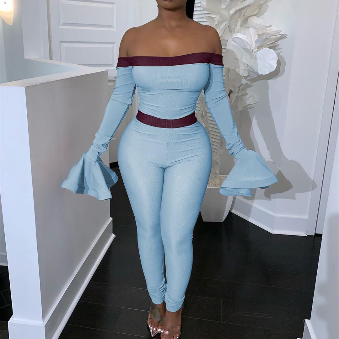 Women Sexy Off Shoulder Long Sleeve Jumpsuits Autumn High Waist Ruffles Bodycon Rompers Sexy  Club Night Club Overalls
