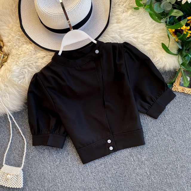 Women's Hollow Short Puff Sleeve Short Crop Tops Lady Round Neck Sexy Shirt  Camisas Mujer  Blusas Mujer De Moda Blouse K693 5