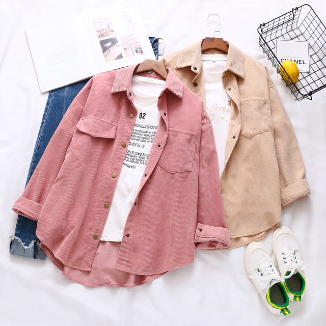 New Women Solid Corduroy Batwing Sleeve Vintage Blouse Turn-Down Collar Loose Top Button Up Pink Shirt Feminina Blusa T9D609T 5