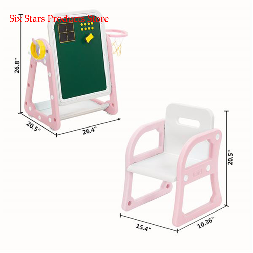 New 52cm * 67cm * 68cm Plastic Children's Table And Chair Drawing Board Set With Shooting Ring 1 Table And 1 Chair US Shipping