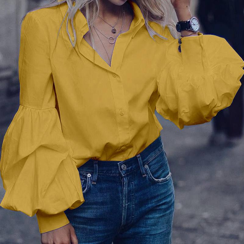 Celmia Top Fashion Women Long Puff Sleeve Blouse Autumn Lapel Buttons Casual Shirt Loose Solid Party Work Blusas Mujer Plus Size(China)