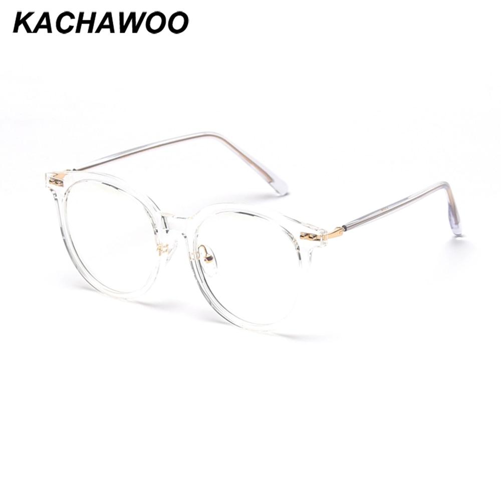 Kachawoo Blue Screen Glasses Big Transparent Mens Round Eyeglasses Prescription Woman Tr90 Frame Rivet Style Retro