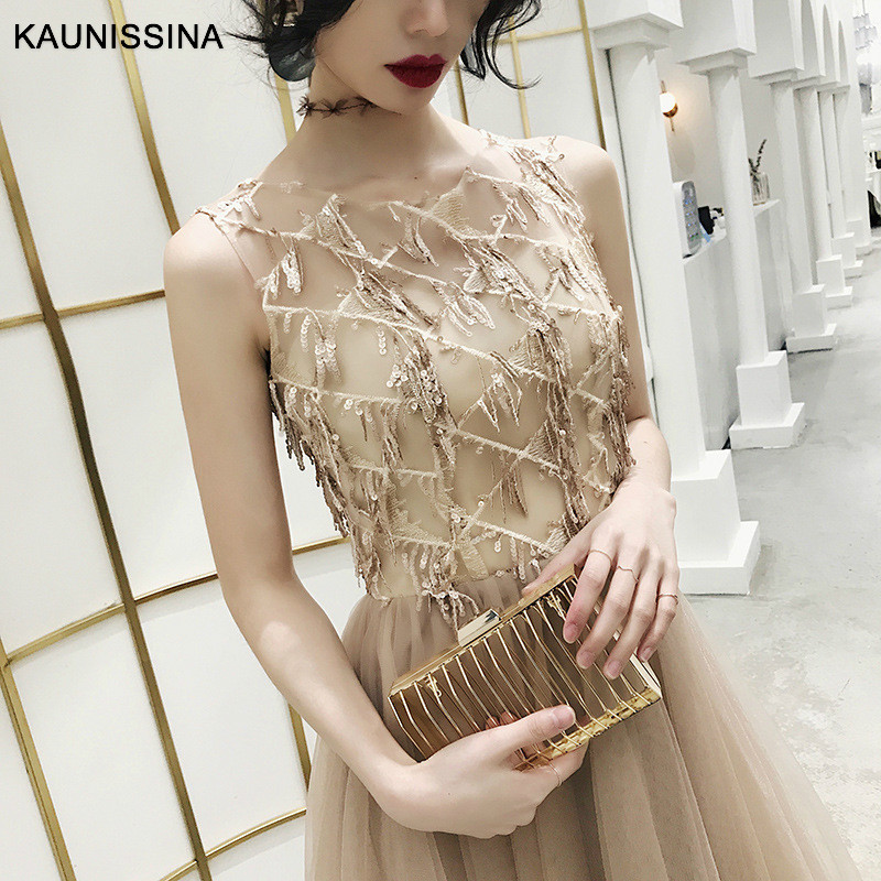 KAUNISSINA Sequined   Cocktail     Dresses   Sleeveless Sequins Tassel O-neck Party   Dress   Sexy Tull Plus Size Knee Length Formal Gowns