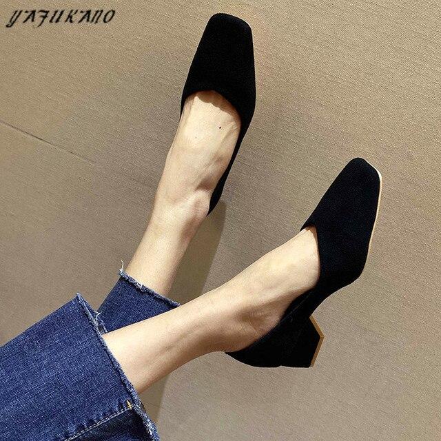 Туфли женские на среднем каблуке простые удобные замшевые туфли-лодочки 2