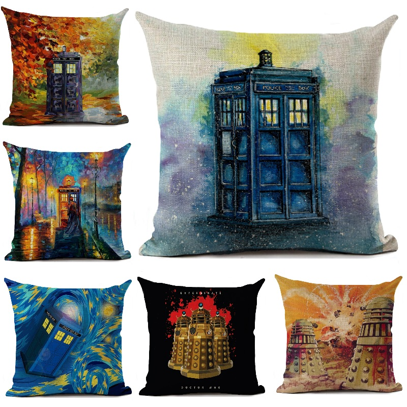 Doctor Who 2 Pillowcases TARDIS Police Call Box Bed Pillow Case Pair Set Dr.