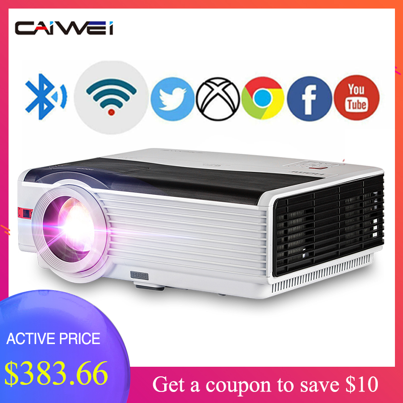 Caiwei A9/A9AB Smart Android WiFi LCD LED 1080p Projector Home Cinema 5000 Lumens Full HD Video Mobile Beamer For Smartphone TV